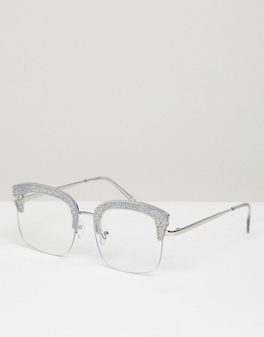 a4f2e38e2a ASOS Asos Square Glasses With Glitter Frame   Clear Lens in Metallic ...