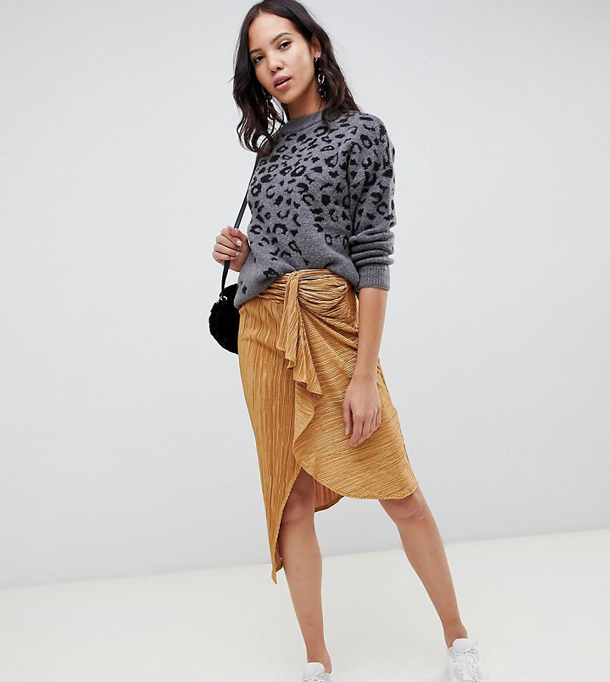017e092b67 ASOS Asos Design Tall Plisse Midi Skirt With Tie Front in Yellow - Lyst
