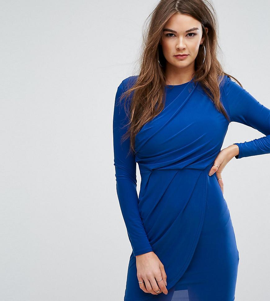 5bca4868a0bc5 Boohoo Drape Detail Long Sleeve Dress in Blue - Lyst