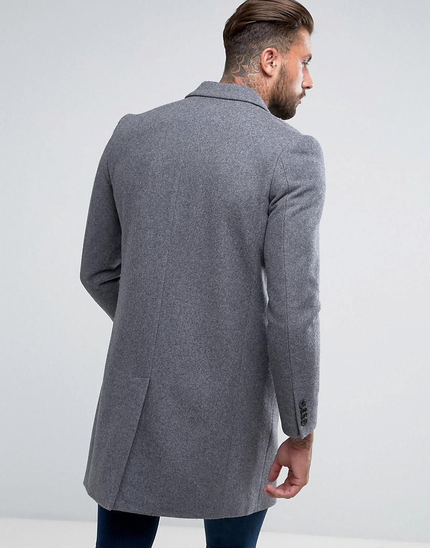 c9d4da6c2f00 Lyst - ASOS Wool Mix Overcoat In Light Grey Marl in Gray for Men - Save 41%