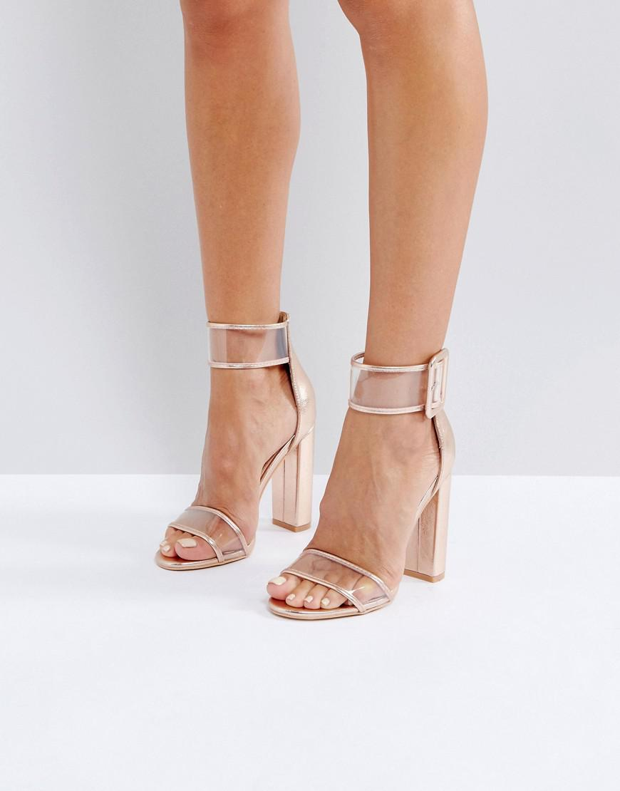 b96c9e0a2891 Public Desire Mission Rose Gold Clear Strap Block Heeled Sandals in ...