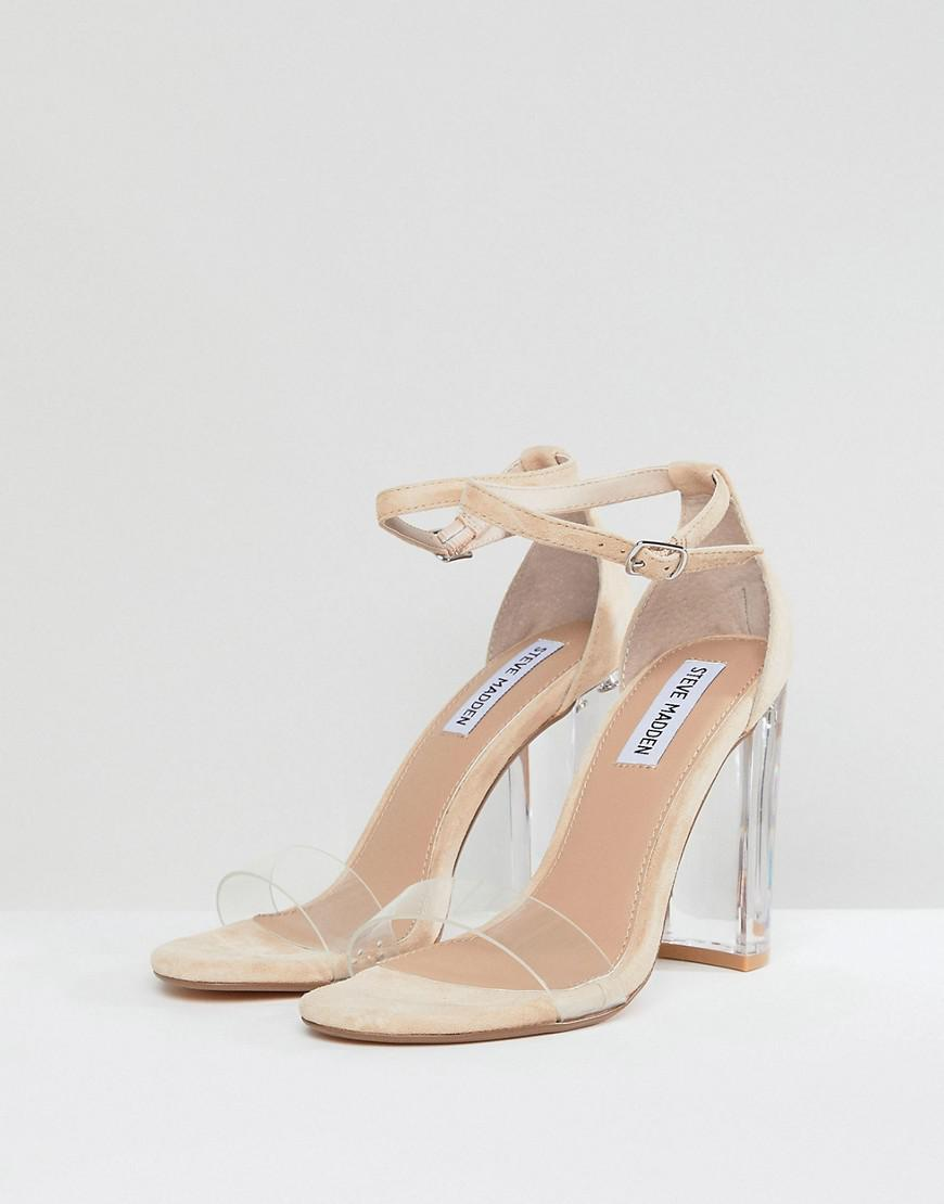 e8271b50961 Lyst - Steve Madden Chelsea Blush Clear Block Heeled Sandals in Natural