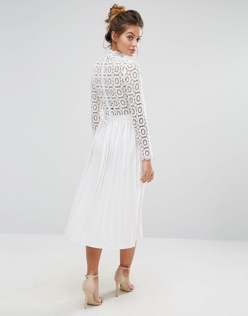 774d6f3f64f Little Mistress Premium Lace Pleated Midi Dress in White - Lyst