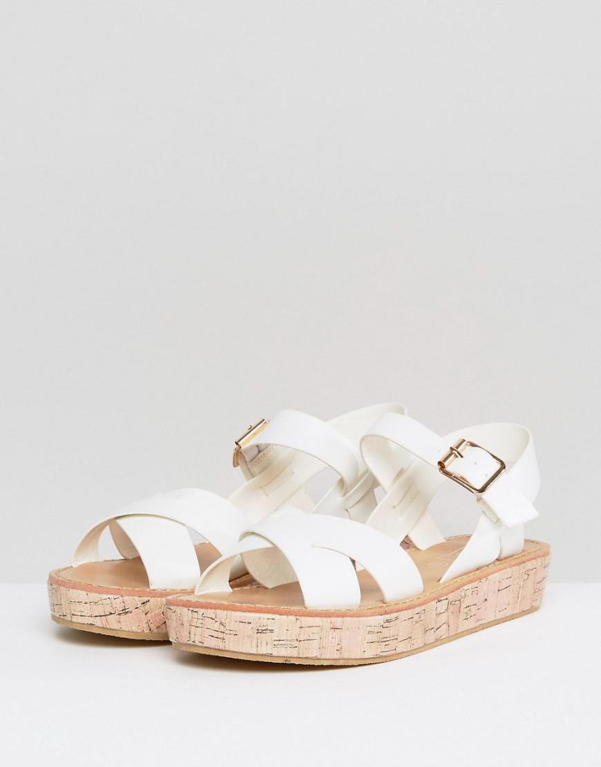 0195f89f06c Lyst - Truffle Collection Cork Flatform Sandal in White