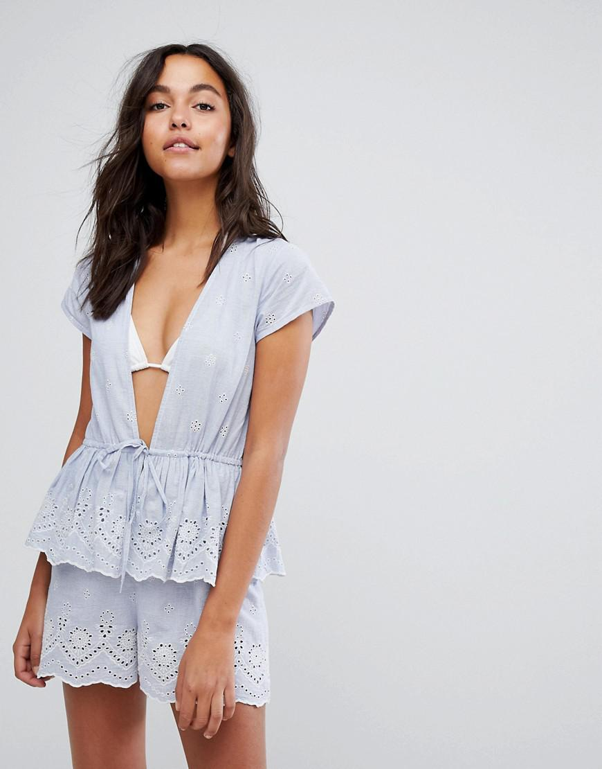 b07ecedda6 ASOS. Women s Stripe Embroidered Frill Tiered Beach Playsuit