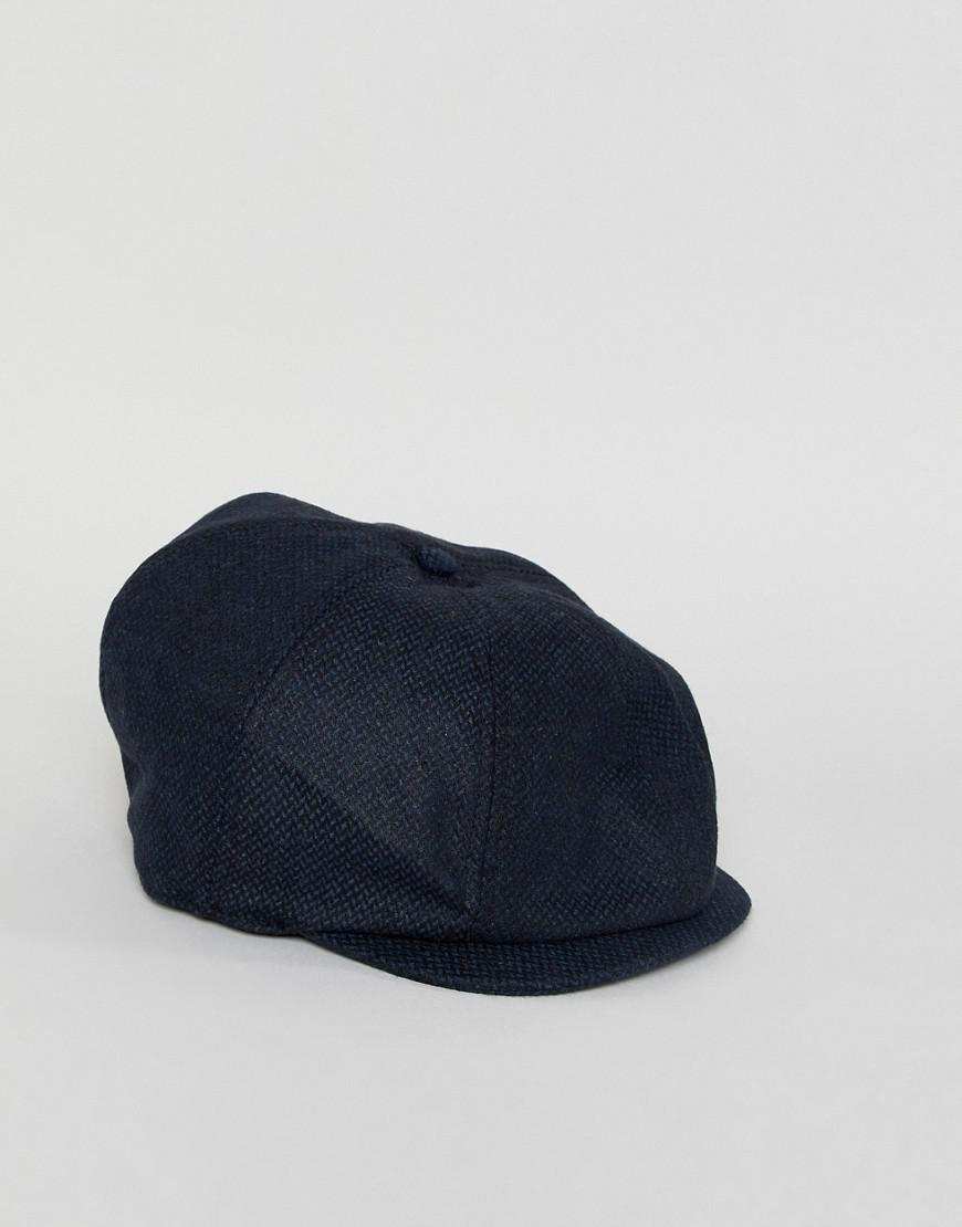 cd8ce29cb Lyst - ASOS Baker Boy Hat In Navy Texture in Blue for Men
