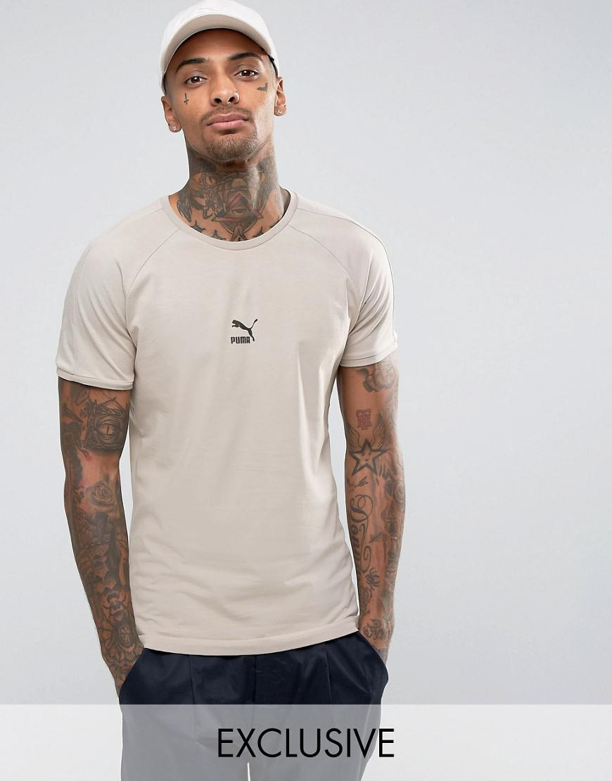 f49b58494e9276 Lyst - PUMA T7 Logo Muscle Fit T-shirt In Beige 57443301 in Natural ...
