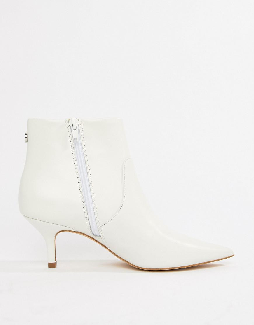 460381c3a77 Lyst - Steve Madden Leather Kitten Heel Boot in White