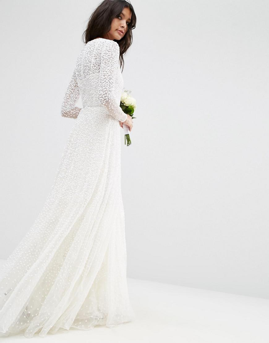 51f68d2a271 ASOS Bridal Embellished Long Sleeve Maxi Dress in White - Lyst