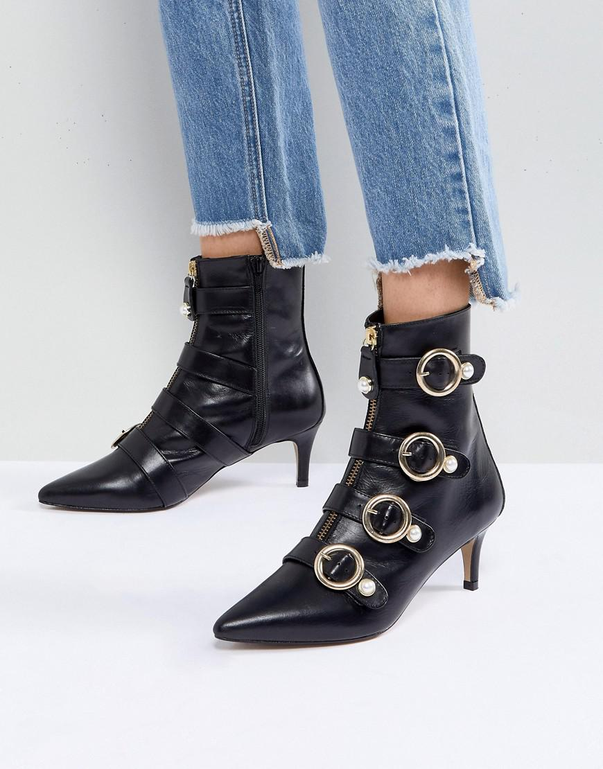 Carvela Sparky Pearl Detail Leather Kitten Heel Ankle Boots ost release dates 3MrJk