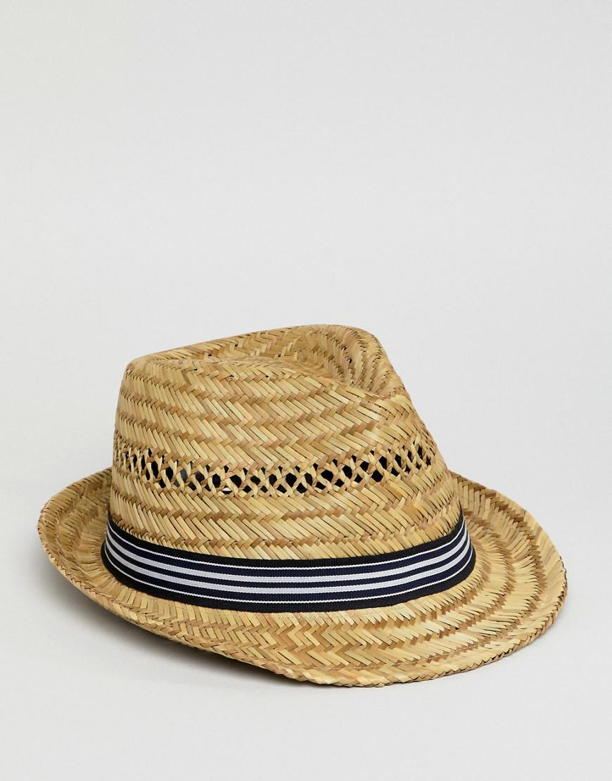 b86356a0e5f Lyst - ASOS Open Weave Straw Hat With Navy Stripe Band in Natural for Men