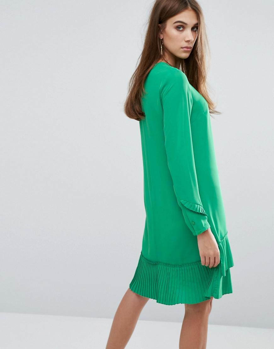 Lyst - Warehouse Pleated Hem Shift Dress in Green