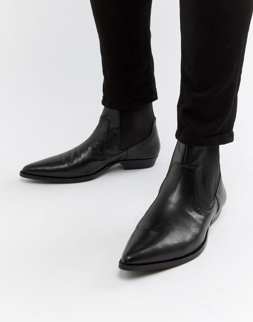 e1fb719213d ASOS Cuban Heel Western Boots In Black Faux Leather in Black for Men ...