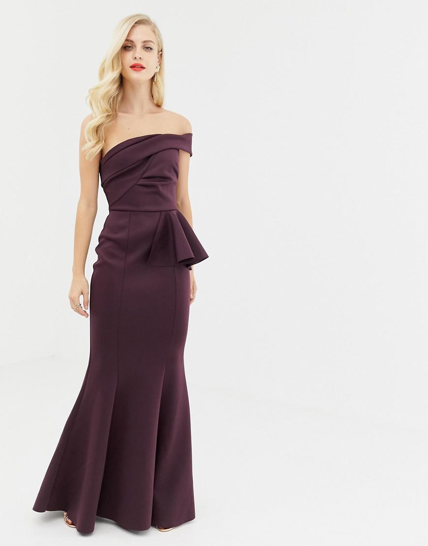 92f35c2b74ba7 Lyst - ASOS Bardot Fold Detail Fishtail Maxi Dress in Purple