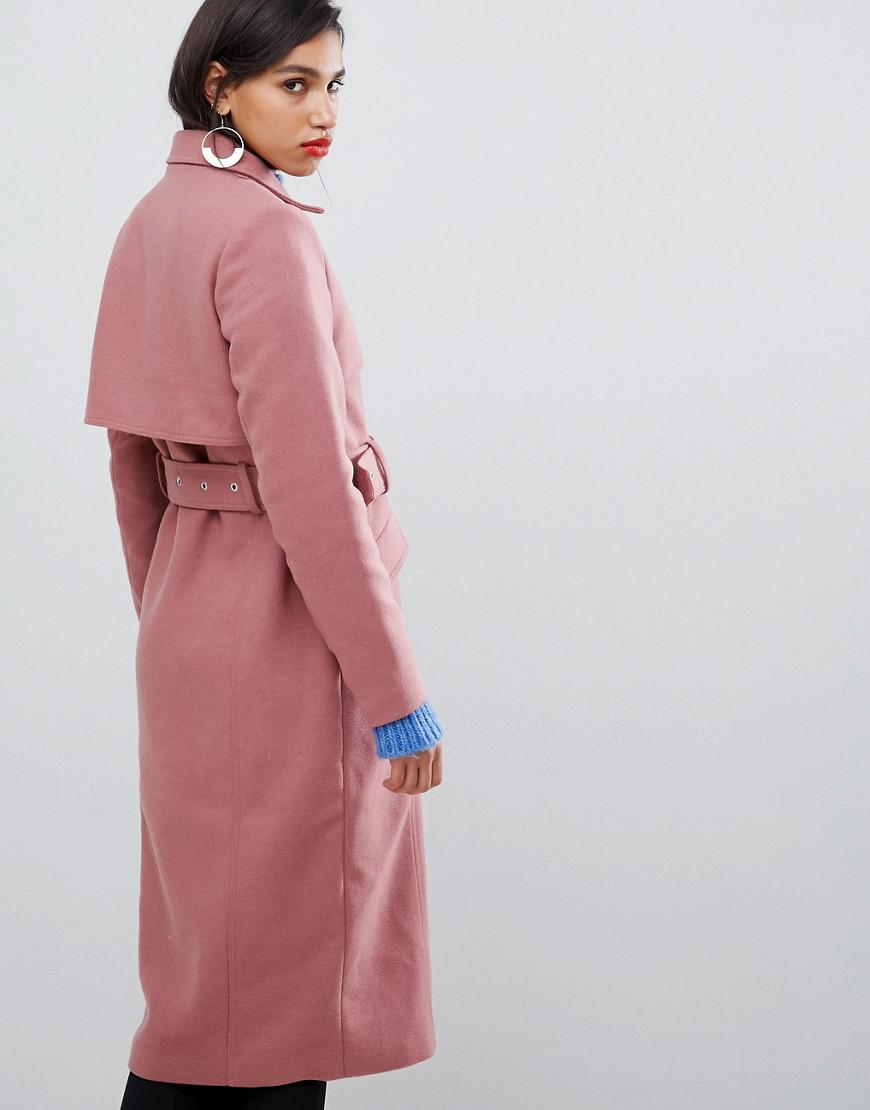 fda19588472 Y.A.S Belted Wool Coat in Pink - Lyst