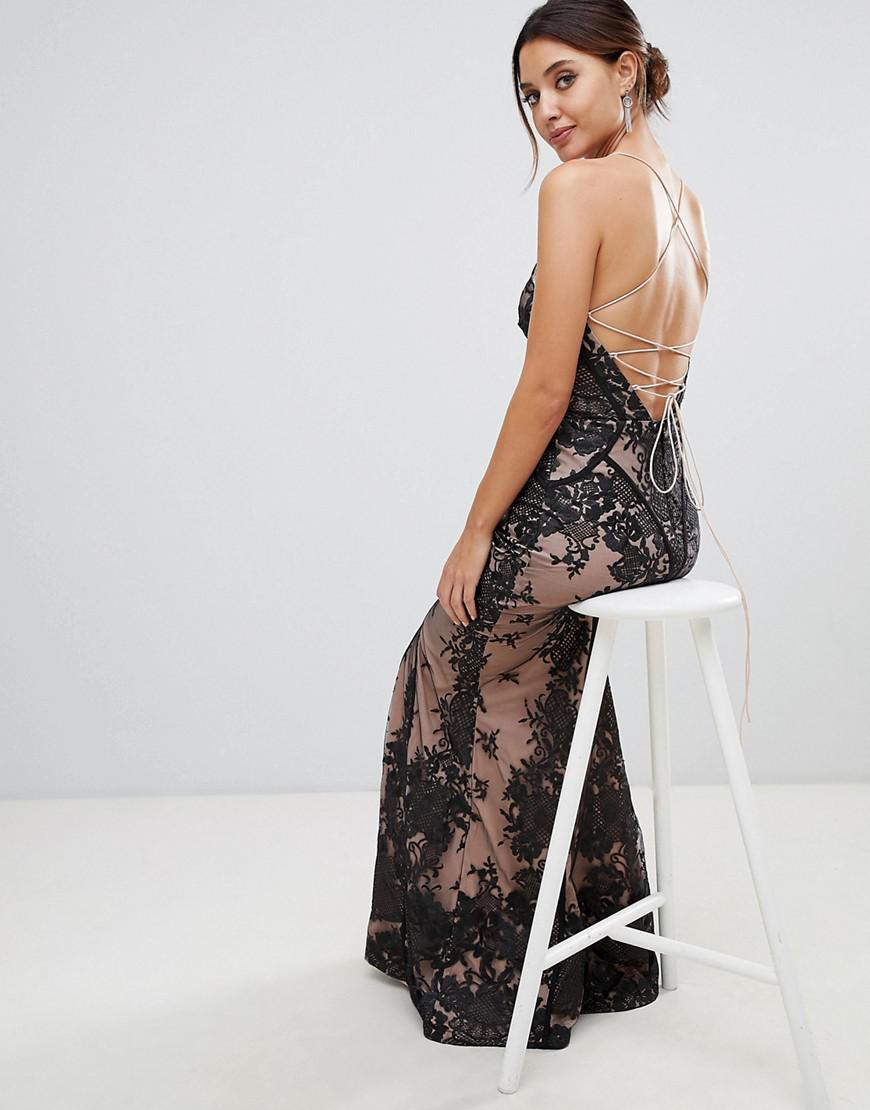 718fe46db20 Bariano Allover Lace Cami Maxi Dress With Strappy Back In Black in Black -  Lyst