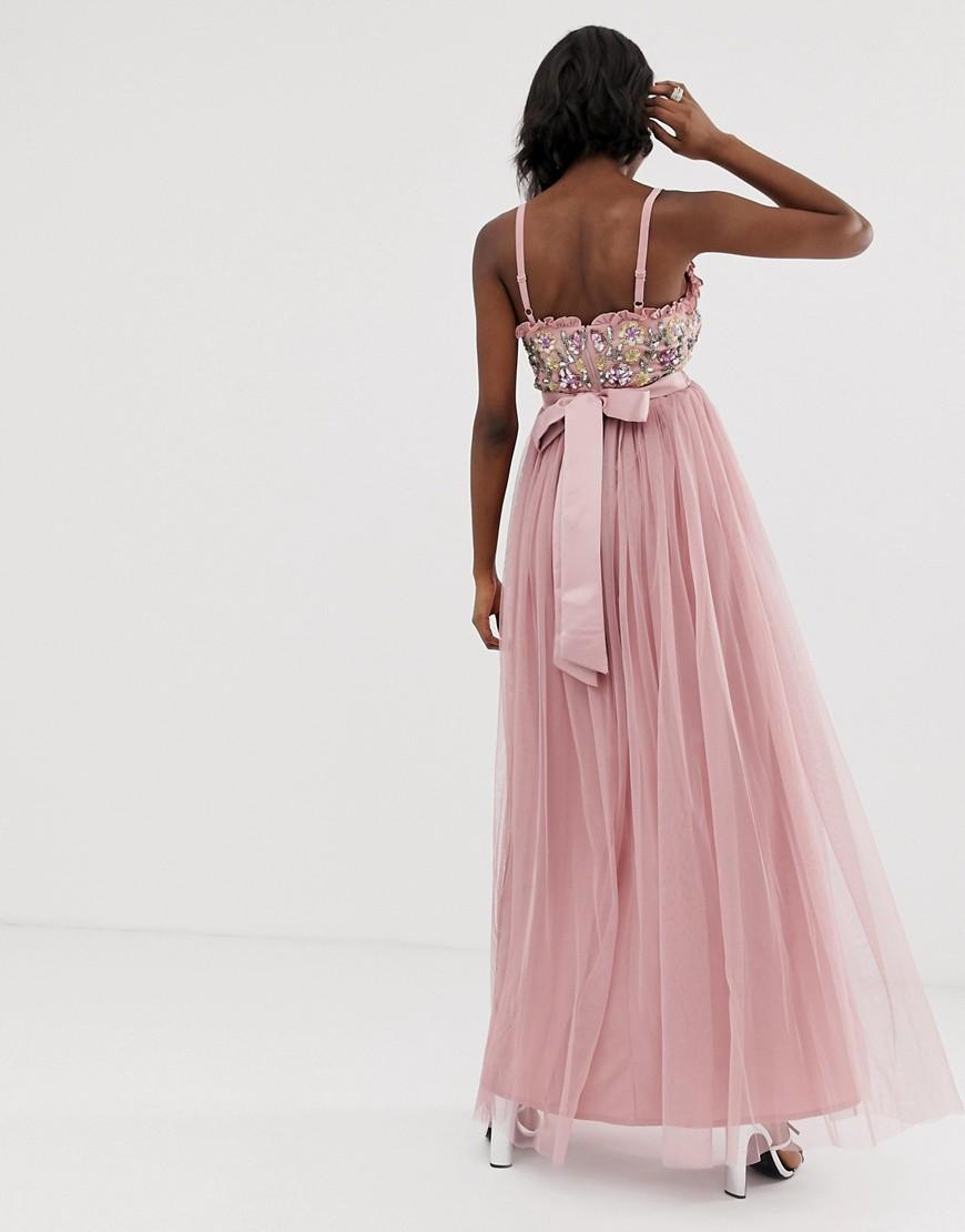 f3380a5891e Maya Maternity Cami Strap Contrast Embellished Top Tulle Detail Maxi Dress  in Pink - Lyst