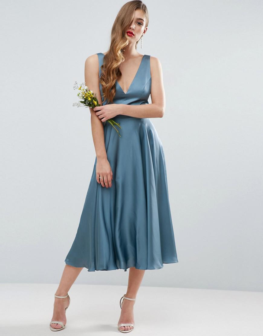 Lyst - Asos Design Bridesmaid Premium Drape Cowl Back Midi Dress in Blue