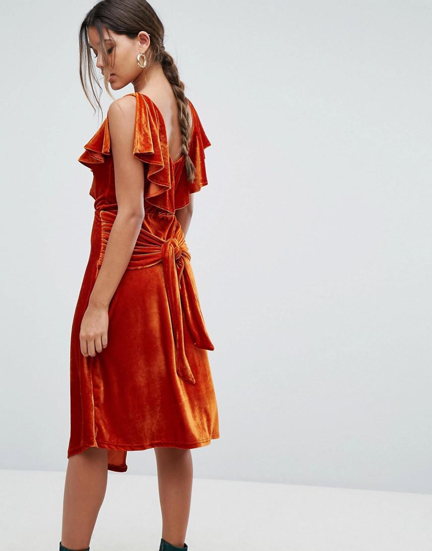 fa49c378863 Aeryne Frill Detail Velvet Midi Dress in Orange - Lyst