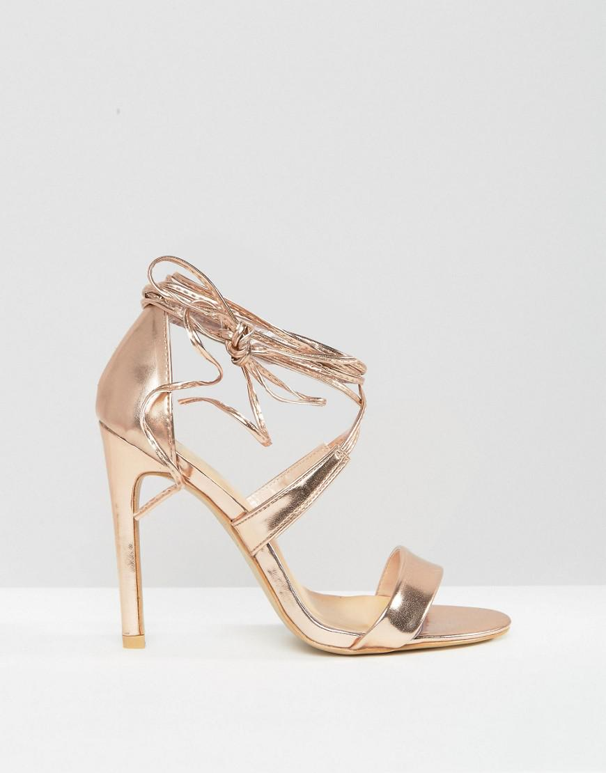 True Decadence Rose Gold Ankle Tie Heeled Sandals free shipping eastbay best sale cheap online fast delivery cheap online free shipping low cost qngGx
