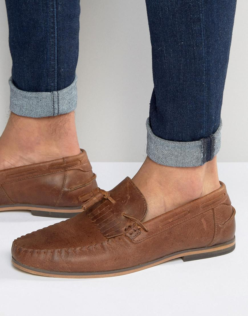 ASOS Tassel Loafers In Leather With Fringe And Natural Sole