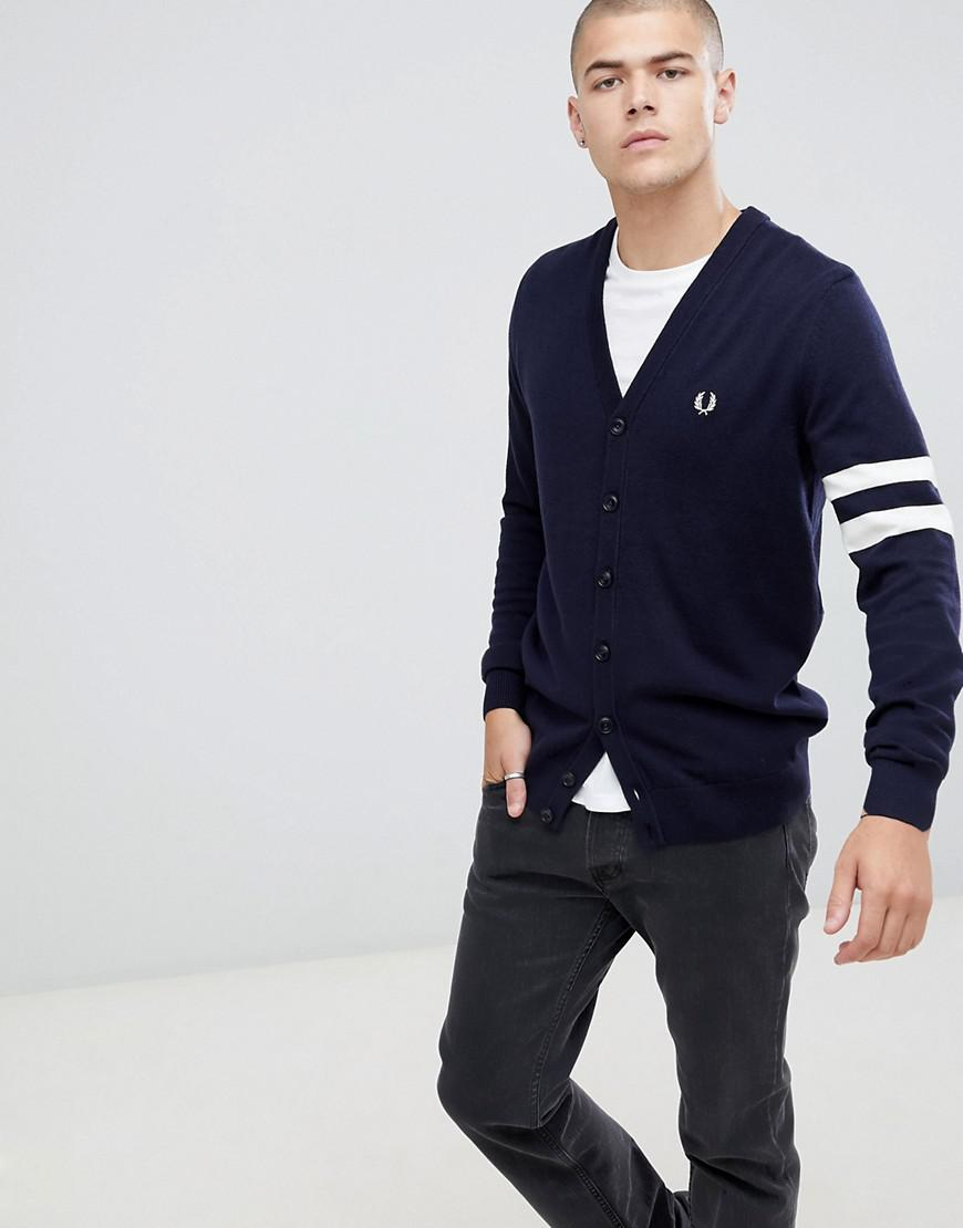 dab6ab4ce7c Lyst - Fred Perry V-neck Cardigan In Navy in Blue for Men - Save 4%