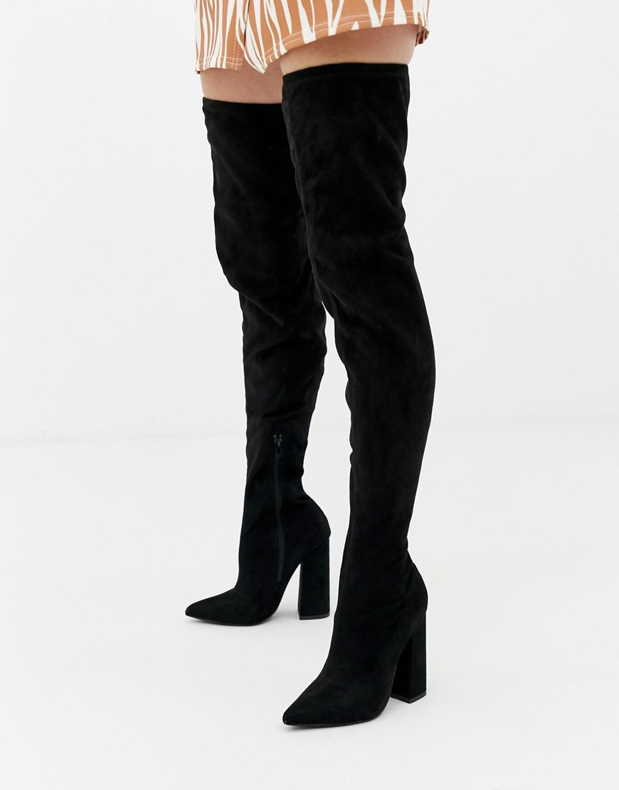 21534ede0386 Missguided Flared Heel Over The Knee Boot In Black in Black - Lyst