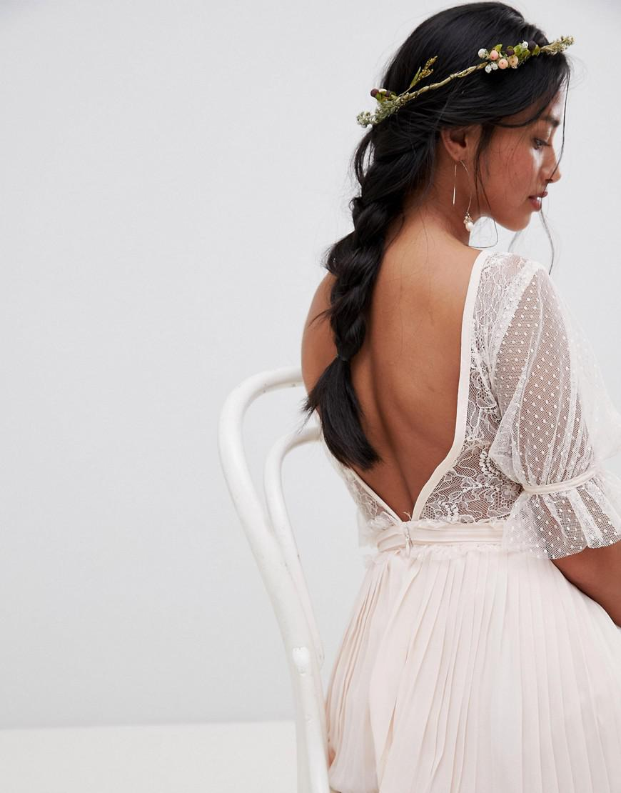 e1082aa0fd15 Lyst - TFNC London Pleated Midi Bridesmaid Dress With Spot Mesh Frill  Detail in Pink