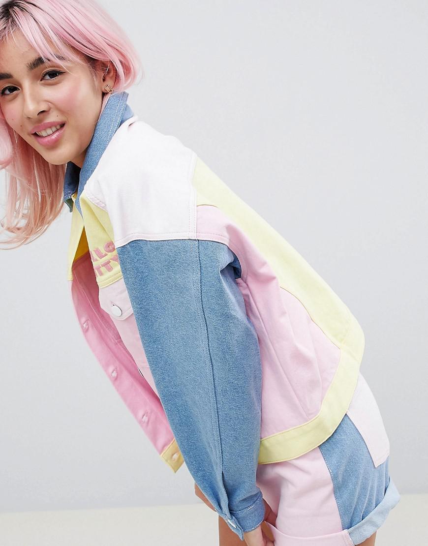 b032c679e ASOS Hello Kitty X Colour Block Denim Jacket With Embroidery Detail ...