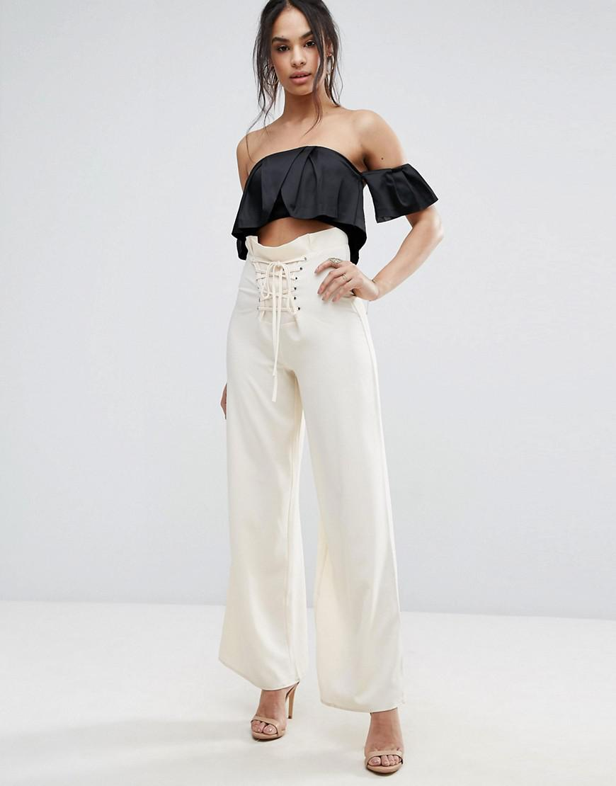 cbe4f70de11 Missguided High Waisted Corset Lace Up Pants in Natural - Lyst