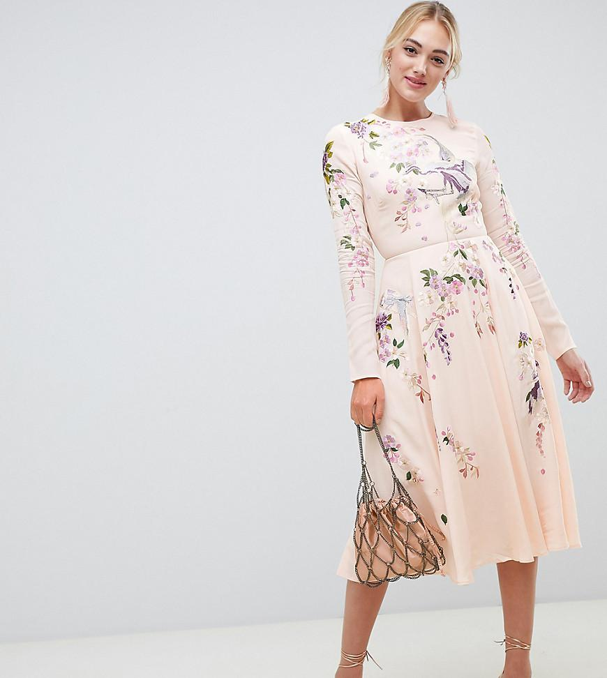 e38df6c9b12 ASOS. Women s Pink Asos Design Tall Midi Dress With Pretty Floral And Bird  Embroidery