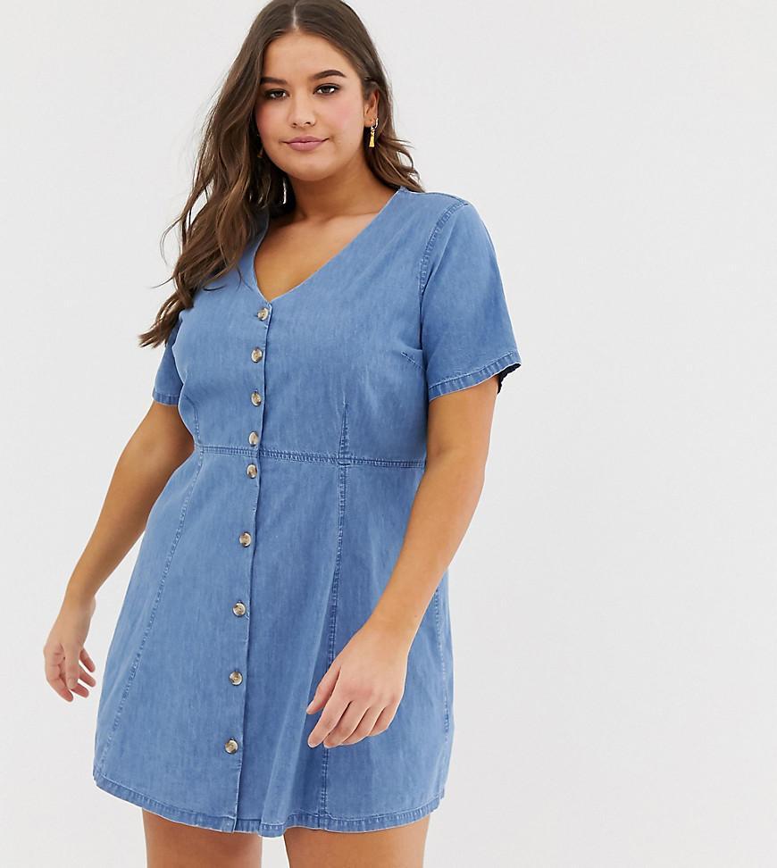 f888950c87c ASOS. Women s Asos Design Curve Denim Tea Dress With Mock Horn Buttons In Midwash  Blue