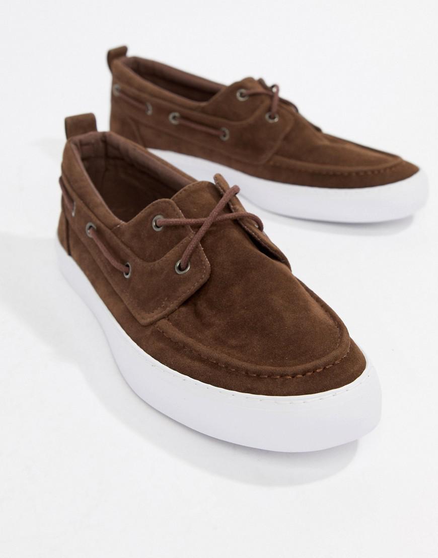 DESIGN vegan boat shoes in brown faux suede - Brown Asos xY6KSwkbl