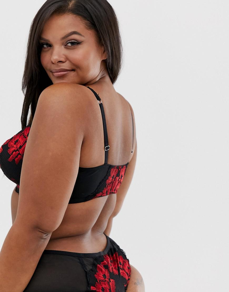 9a6ad3b3bb Simply Be Valentines Strap Detail Front Fastening Lace Bra In Black And Red  in Black - Lyst