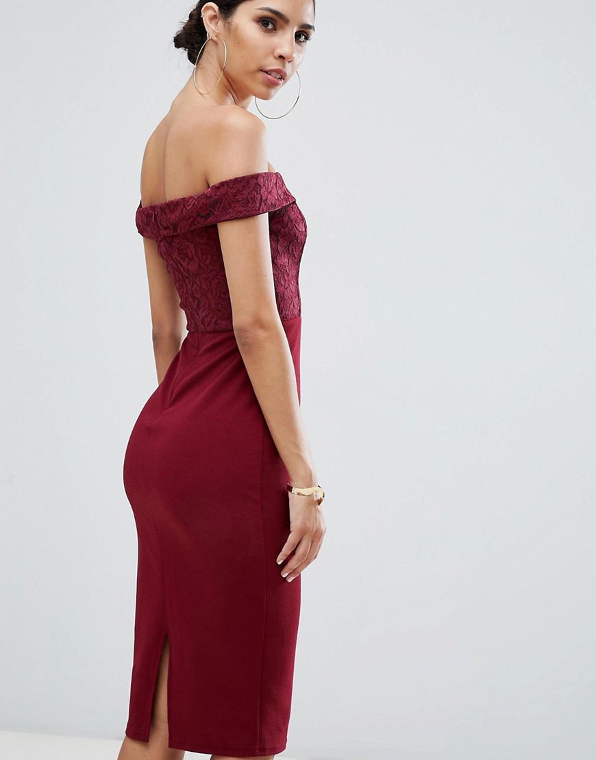 dc74df0601 Ax Paris Printed Bardot Midi Dress in Purple - Lyst