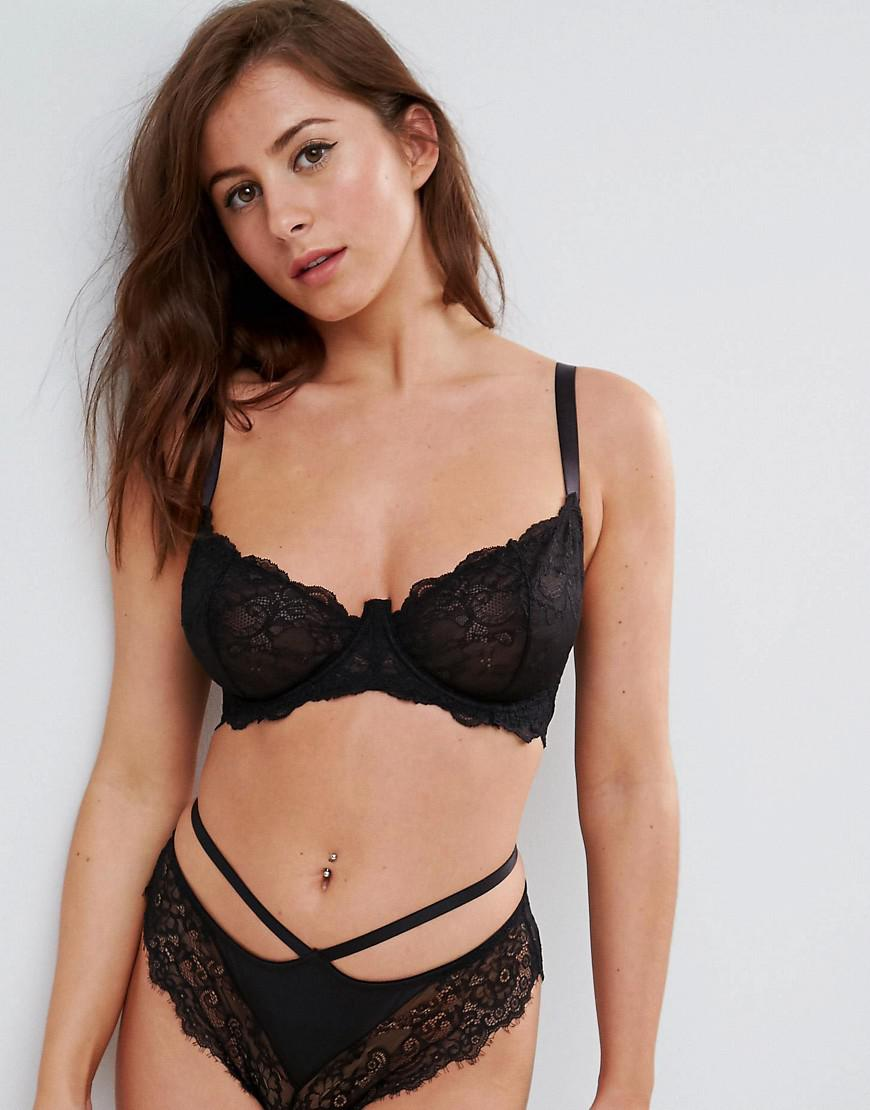 FULLER BUST Marilyn Lace Caged Moulded Underwire Bra - Black Asos