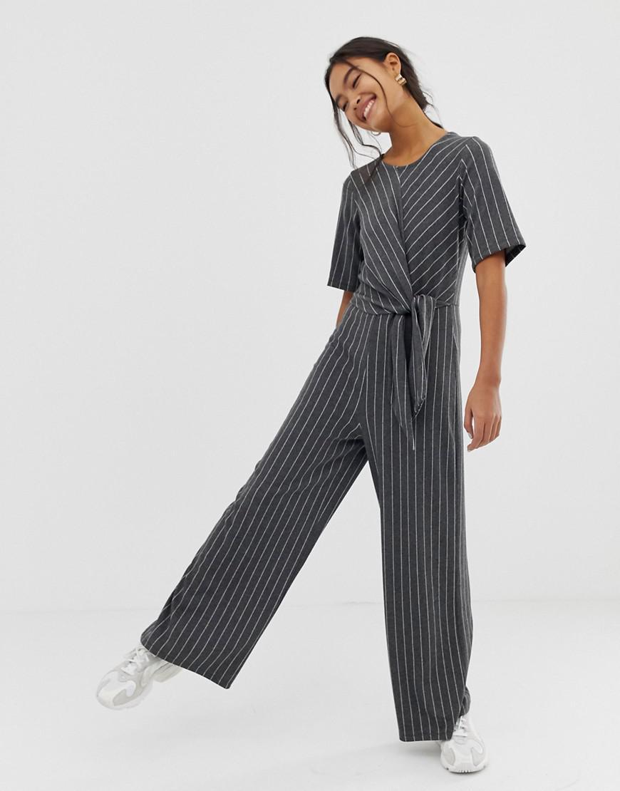 93981d8d4b7d ASOS - Gray Jumpsuit With Tie Side In Stripe - Lyst. View fullscreen