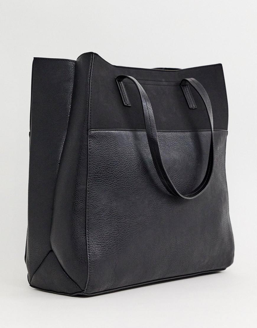 505af1bc16d3 Lyst - Pieces Louise Contrast Leather Shopper Bag in Black