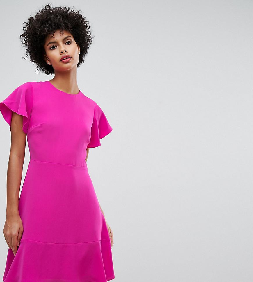 Lyst - Warehouse Cap Sleeve Frill Hem Skater Dress in Pink