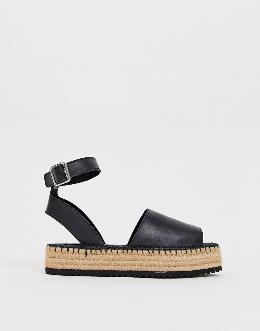 54696bd7654c Lyst - ASOS Wide Fit Jacoba Leather Flatform Espadrilles in Black
