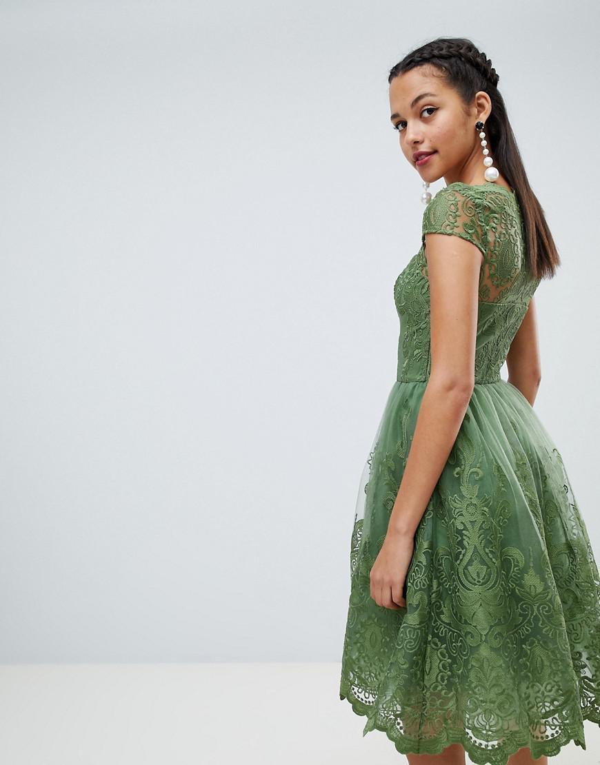 e6d1b882b4374 Lyst - Chi Chi London Premium Lace Midi Dress With Cap Sleeve in Green
