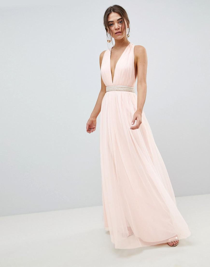 4d899fcfb4fd50 Lyst - ASOS Tulle Maxi Dress With Embellished Waist in Pink