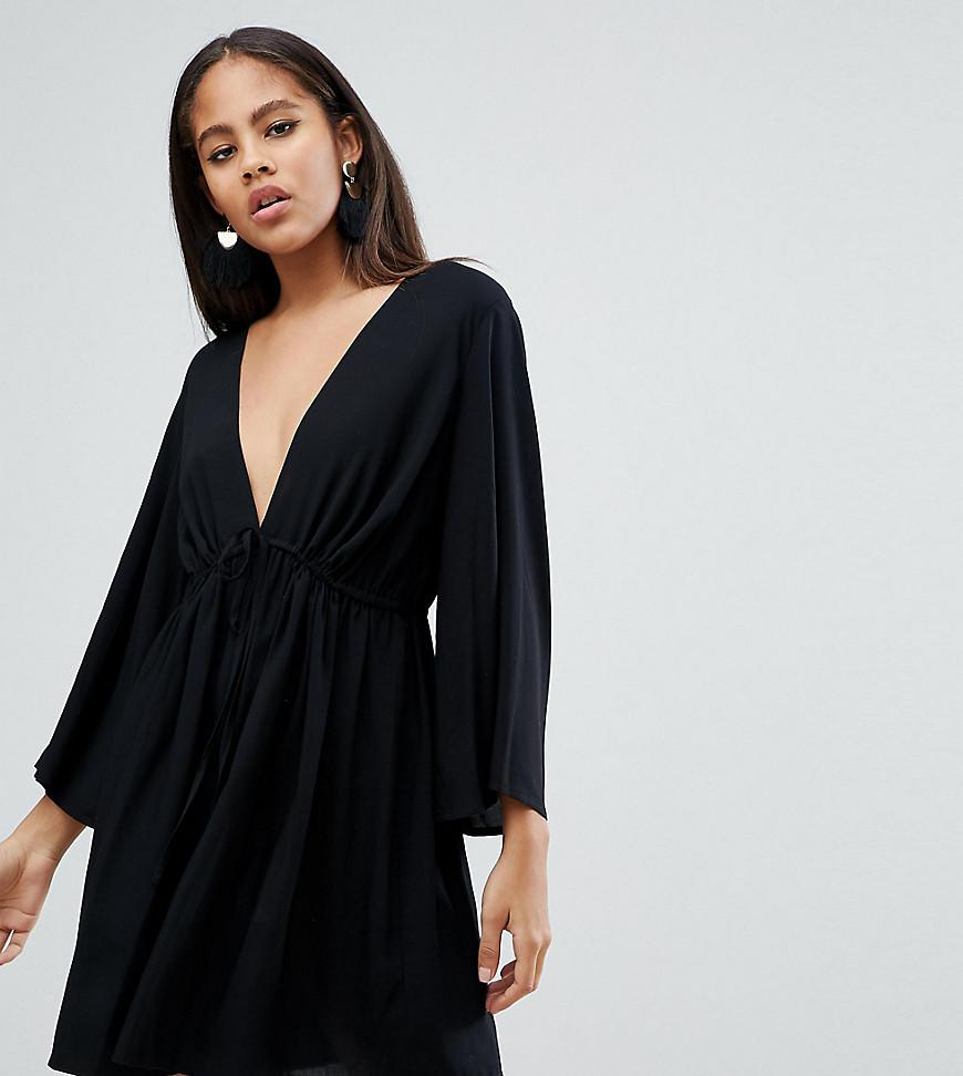 22c0bf93487 Lyst - ASOS Asos Design Tall Smock Romper With Tie Waist in Blue