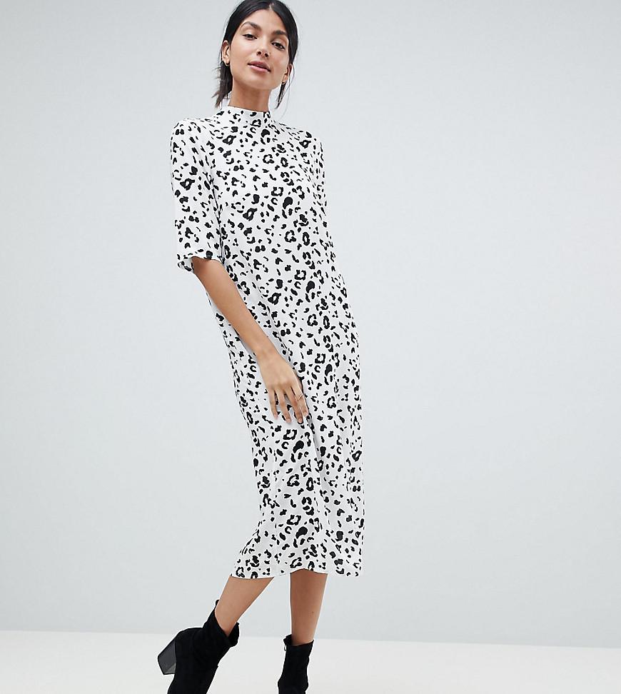 4b0b0d976a4fc ASOS Asos Design Tall Column Midi Dress In Mono Animal Print in ...