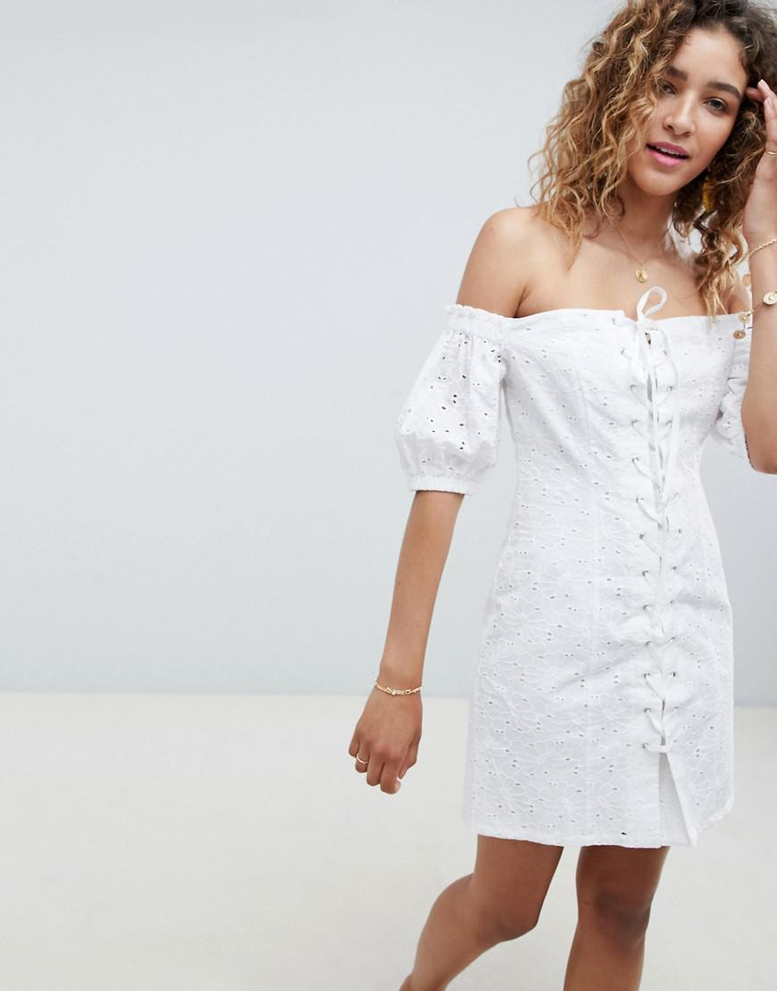 373f53fdb1f7 ASOS Lace Up Broderie Off Shoulder Mini Sundress in White - Lyst