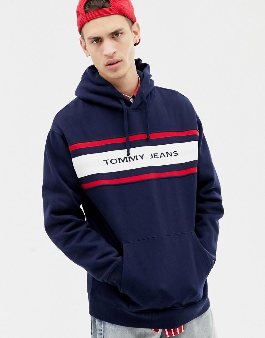 2d464675 Tommy Hilfiger Relaxed Fit Fleece Hoodie With Chest Stripe And Logo ...