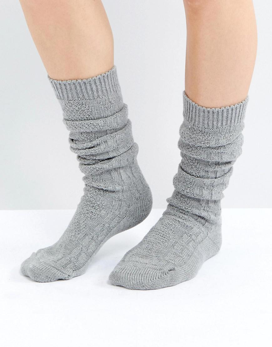 DESIGN cable long slouch socks - Cream Asos Choice Cheap Online Cheap Countdown Package LZFI65uFN6