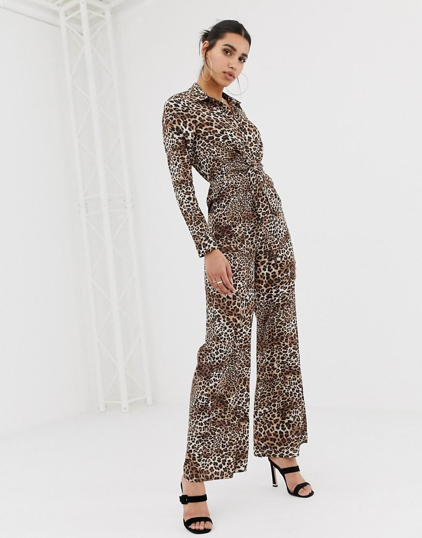 013dca5f899a Lyst - PrettyLittleThing Knot Front Shirt Jumpsuit In Leopard in Brown