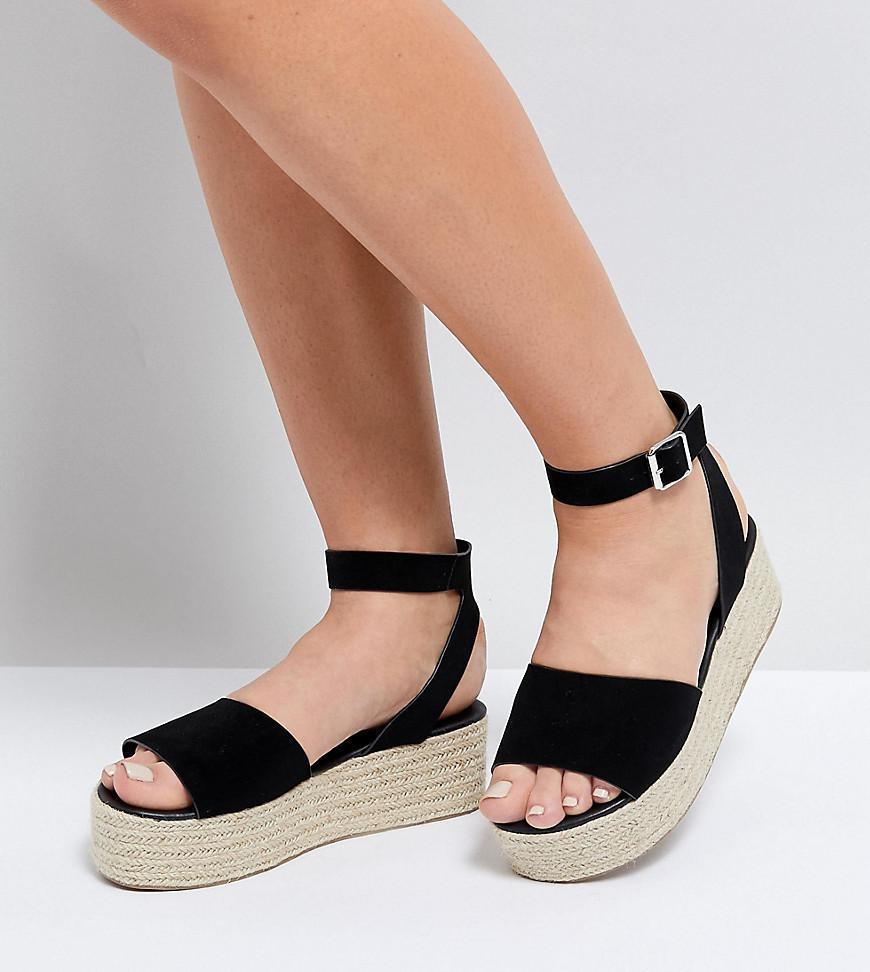 5bb005ad8f99 ASOS Asos Thear Wide Fit Espadrille Flatform Sandals in Black - Lyst