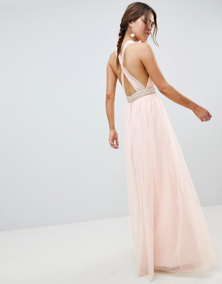 e8d40967ae61 ASOS Tulle Maxi Dress With Embellished Waist in Pink - Lyst
